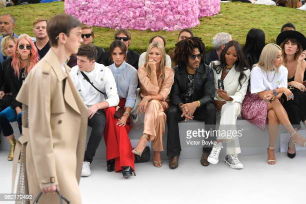 Front row from left to right Brooklyn Beckham Victoria Beckham Kate Moss Lenny Kravitz Naomi Campbell Yoon Ahn and Lou Doillon attend the Dior Homme...