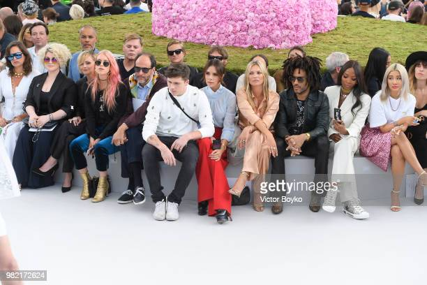 Front row from left to right Jade Jagger Kelly Osbourne Christina Ricci a guest Luca Guadagnino Brooklyn Beckham Victoria Beckham Kate Moss Lenny...