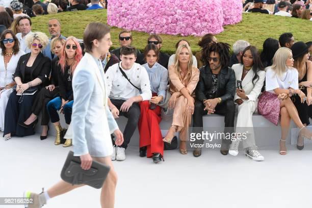 Front row from left to right Jade Jagger Kelly Osbourne Christina Ricci guest Luca Guadagnino Brooklyn Beckham Victoria Beckham Nikolai Von Bismarck...