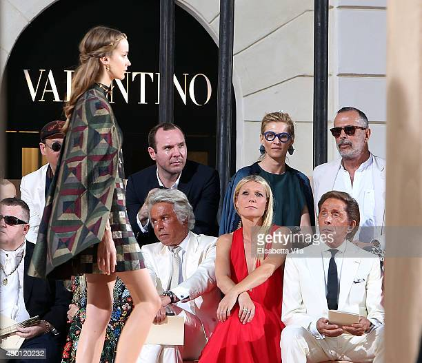 Front row Giancarlo Giammetti Gwyneth Paltrow and Valentino Garavani attend the Valentinos 'Mirabilia Romae' haute couture collection fall/winter...