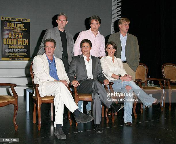guest Rob Lowe Suranne Jones Back row Cast Member guest John Barrowman and Aaron Sorkin