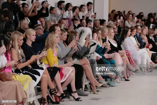 Front row including Paris Hilton Nicky Hilton Nicki Minaj and Carine Roitfeld during the Oscar de la Renta fashion show September 2017 at New York...