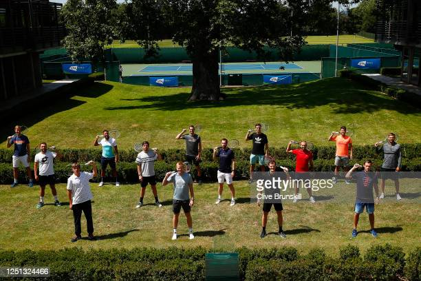 Front row : Jack Draper, Kyle Edmund, Jamie Murray and Neal Skupski. Middle row : Liam Broady, Cameron Norrie, Andy Murray, Dan Evans and Lloyd...