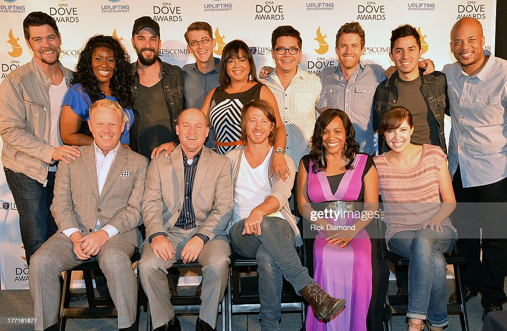 Jamie Dailey & Darrin Vincent of Dailey & Vincent, Mike Donehey of Tenth Avenue North, Radio Personality Lady Shaunte', Singer/Songwriter Francesca Battistelli. Back Row: Jason Crabb, Singer/Songwriter Mandisa, Rhett Walker, Jason Jamison Tenth Avenue North, Executive Director/GMA - Dove Awards Jackie Patillo, Band Members Jeff Owen, Brendon Shirley, Ruben Juarez III of Tenth Avenue North and Singer/Songwriter James Fortune attend the 44th Annual GMA Dove Awards Nominations Press Conference at Allen Arena, Lipscomb University on August 21, 2013 in Nashville, Tennessee.