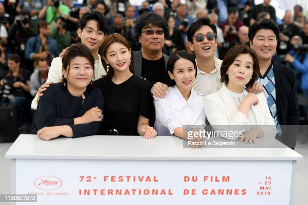 Front Row Lee JungEun Park Sodam Cho Yeojeong and Chang HyaeJin Back Row Choi Wooshik Bong JoonHo Lee Sungyun and Song Kangho attend thephotocall...
