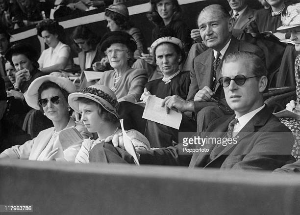 Princess Marina Duchess of Kent and Princess Alexandra with Prince Philip in the royal box at Wembley Stadium during the closing ceremony of the...
