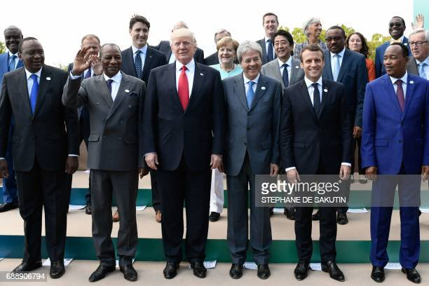 Kenya's President Uhuru Kenyatta Guinea's President Alpha Conde US President Donald Trump Italian Prime Minister Paolo Gentiloni French President...