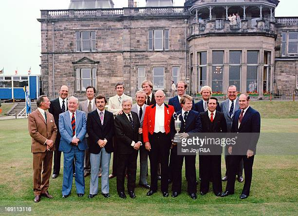 Front row LR Max Faulkner of England Fred Daly of Northern Ireland Tony Jacklin of England Henry Cotton of England Arnold Palmer of the USA The...