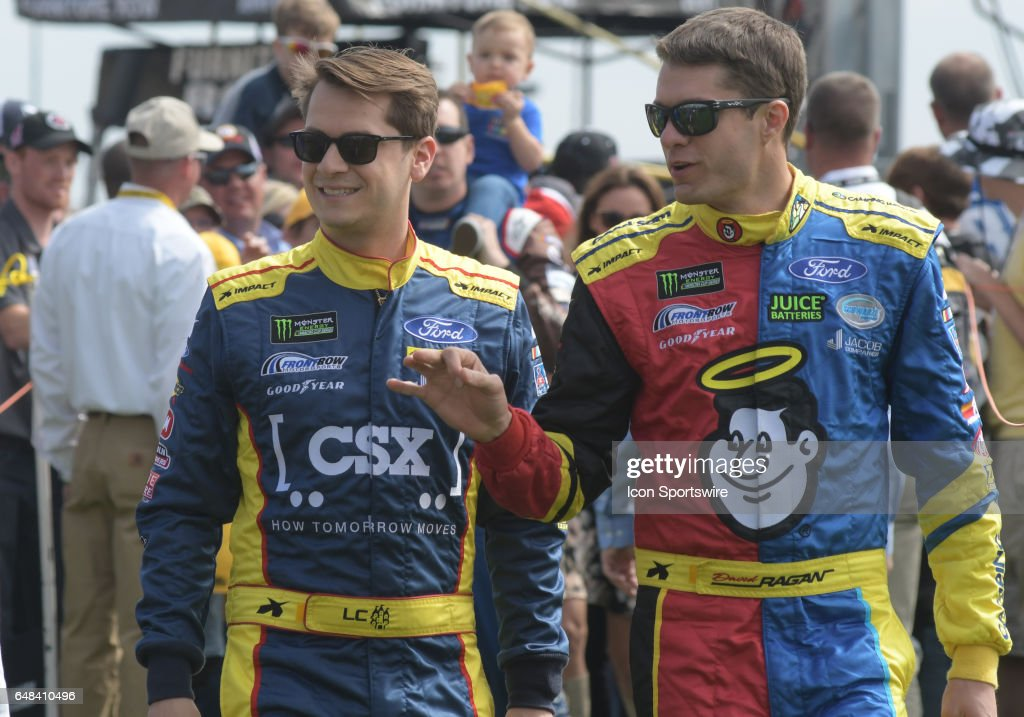 Front Row Motorsports teammates Landon Cassill (34) Front Row Motorsports CSX Play it Safe Ford Fusion and David Ragan (38) Front Row Motorsports Camping World/Good Sam Ford Fusion before the Monster Energy Series Folds of Honor Quiktrip 500 on March 05, 2017, at Atlanta Motor Speedway in Hampton, Ga.