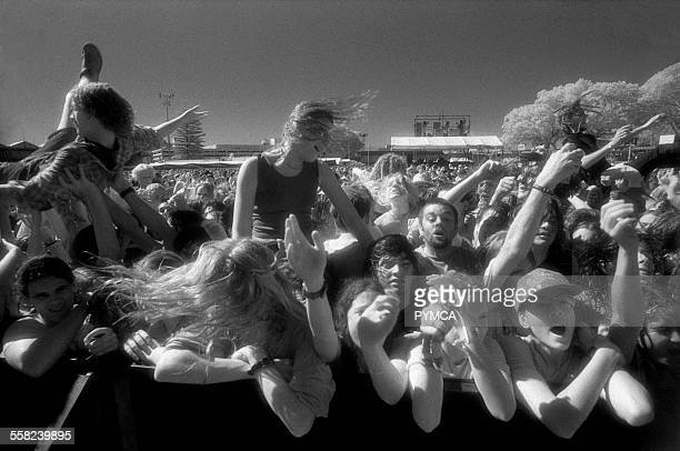 Front row of the crowd at the Big Day Out Festival Perth Joondalup WAustralia 1990s