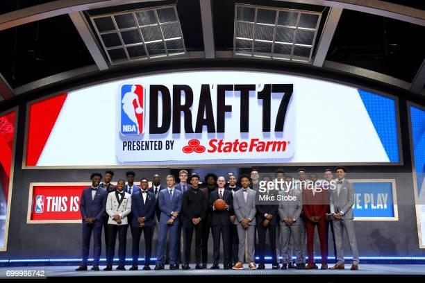 Front Row OG Anunoby Dennis Smith Malik Monk Luke Kennard Lonzo Ball NBA Commissioner Adam Silver Markelle Fultz De'aaron Fox Frank Ntilikina Justin...