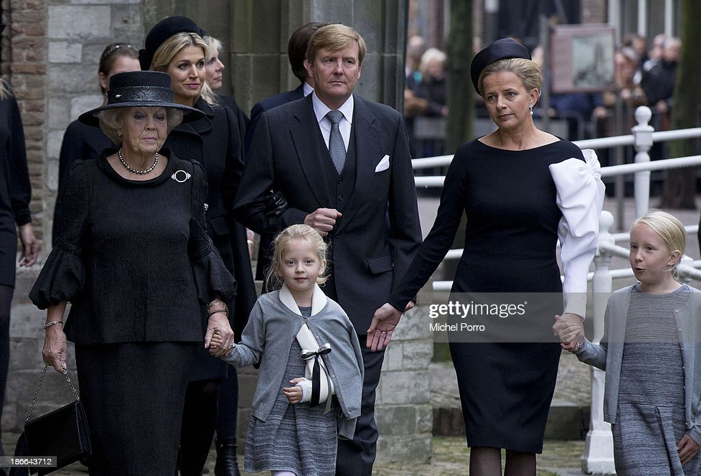 Front row Princess Beatrix of The Netherlands, Princess Zaria, Princess Mabel, Princess Luana. Queen Maxima of The Netherlands and King Willem-Alexander of The Netherlands arrive at the memorial service for Prince Friso who died in august this year following a ski accident in 2012 on November 2, 2013 in Delft, Netherlands.