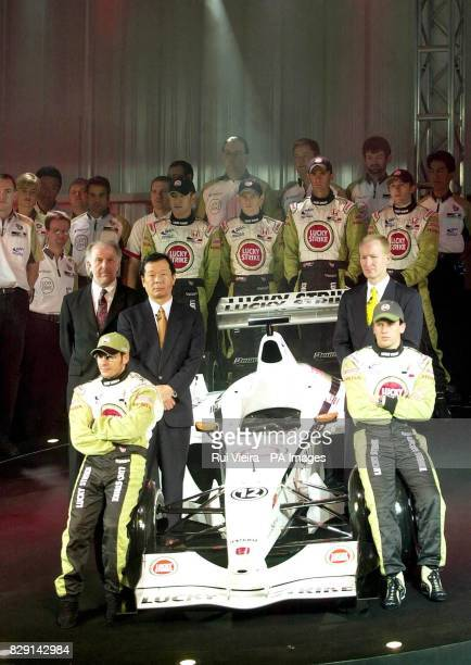 Racing drivers Jacques Villeneuve and Olivier Panis Second Row Managing Director David Richards Honda Head of Racing Technology Toru Ogawa...