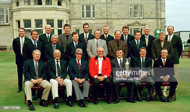 Front row seated left to right Jack Nicklaus of the USA Roberto de Vicenzo of Argentina Sam Snead of the USA Sir Michael Bonallack Paul Lawrie of...
