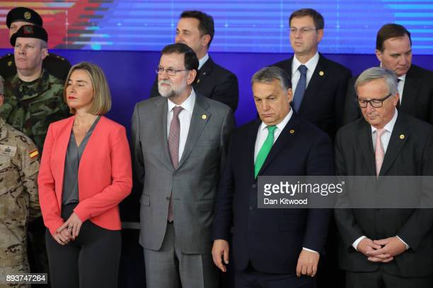 Front Row Security Policy and VicePresident of the European Commission Federica Mogherini and Prime Minister of Spain Mariano Rajoy and President of...