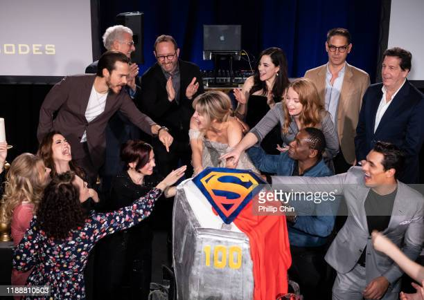 Front Row Supergirl actors Katie McGrath Andrea Brooks Julie Gonzalo Chyler Leigh David Harewood Staz Nair Azie Tesfai Nicole Maines Jesse Rath Back...