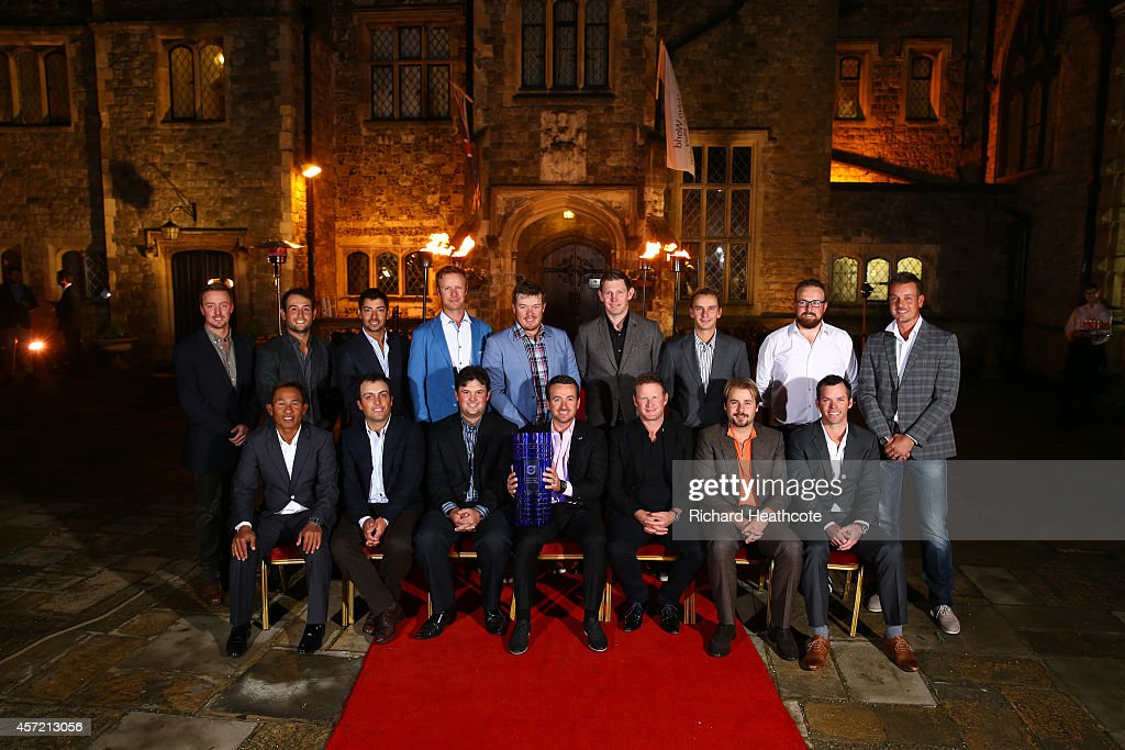 Thongchai Jaidee of Thailand, Francesco Molinari of Italy, Patrick Reed of the USA, Graeme McDowell of Northern Ireland,Jamie Donaldson of Wales,Victor Dubuisson of France; Paul Casey of England and back row: Jonas Blixt of Sweden, Alexander Levy of France, Pablo Larrazabal of Spain,Mikko Ilonen of Finland, George Coetzee of South Africa,Stephen Gallacher of Scotland, Joost Luiten of The Netherlands; Shane Lowry of Ireland and Henrik Stenson of Sweden pose for a photograph in the courtyard of Eastwell Manor prior to the start of the Volvo World Match Play Championship at The London Club on October 14, 2014 in Ash, United Kingdom.