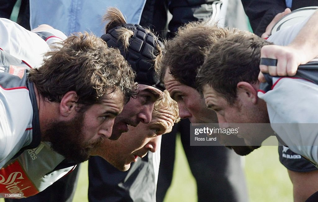 Front rows Carl Hayman, Andrew Hore, Greg Somerville, Anton Oliver, Neemia Tealata (obscured) and Tony Woodcock, pack down in the scrum during an All Blacks training session at Rugby Park on July 05, 2006 in Christchurch, New Zealand. The All Blacks play the Australian Wallabies in a Tri-Nations/Bledisloe Cup rugby test match on July 08.