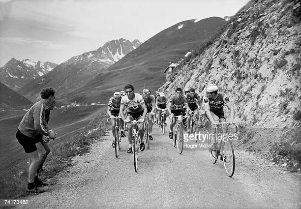 Front runners of the 1963 Tour de France cycling through the mountains The group includes Jacques Anquetil Federico Bahamontes and Raymond Poulidor