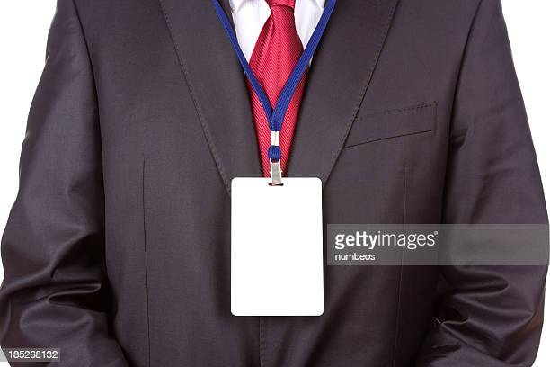 Front shot of a businessman wearing a blank name tag
