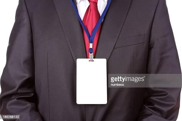 ビジネスマンがネームタグ - ストラップ ストックフォトと画像