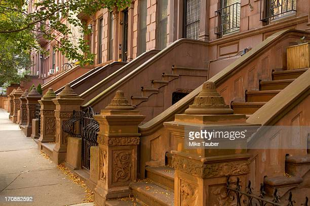 Front steps of apartment buildings, New York, New York, United States