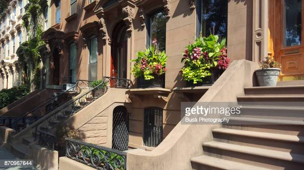 Front stoop of a brownstone in Brooklyn, New York City