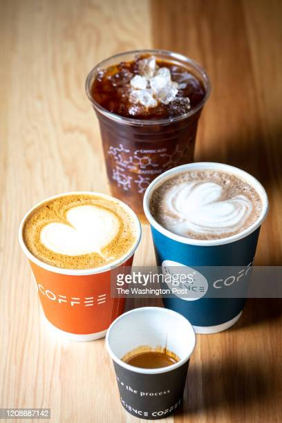 Front to back left to right espresso cappuccino mocha cold brew coffee Photographed for Weekend Casual Dining in Washington DC on March 28 2020