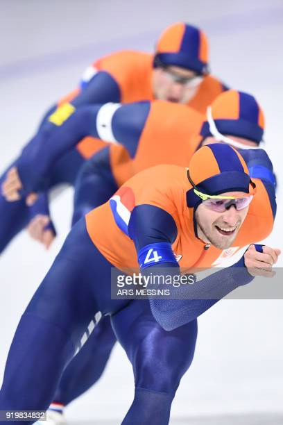 Netherlands' Jan Blokhuijsen Netherlands' Koen Verweij and Netherlands' Sven Kramer compete in the men's team pursuit quarterfinal speed skating...