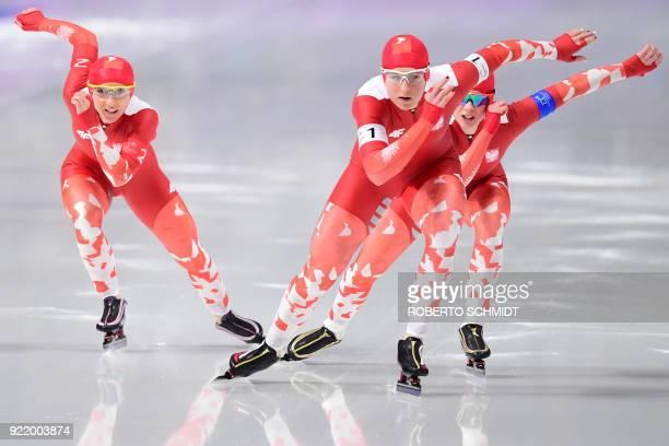 Poland's Natalia Czerwonka Poland's Karolina Bosiek and Poland's Luiza Zlotkowska compete in the women's team pursuit final D speed skating event...