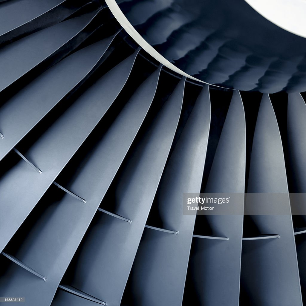 Front view close-up of aircraft jet engine turbine : Stock Photo