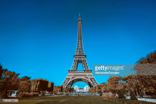 Front View Eiffel's Tower In Paris, France