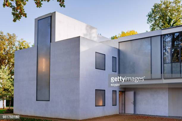 front view master house from feininger / moholy-nagy - dessau bauhaus - bauhaus art movement stock pictures, royalty-free photos & images