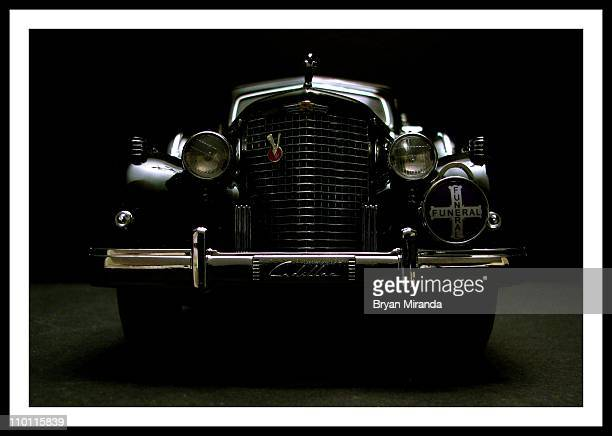 Scale die-cast 1938 town car hearse replica.