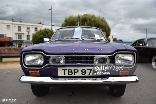 A front view of a Ford Escort MK1 radiator grill on display during the Southend Classic Car Show along the seafront on June 17 2018 in Southend on...