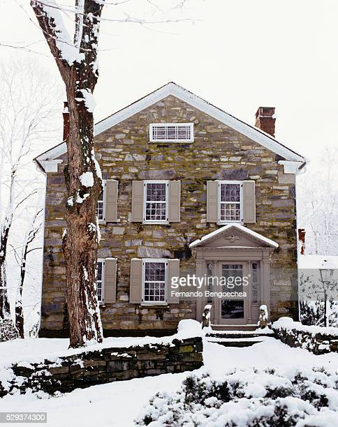 front view of a house and trees covered with snow - fernando bengoechea stock pictures, royalty-free photos & images