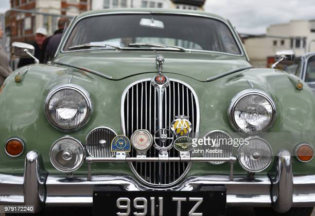 A front view of a Jaguar MK2 24 radiator with an old chrome AA badge on display during the Southend Classic Car Show along the seafront on June 17...