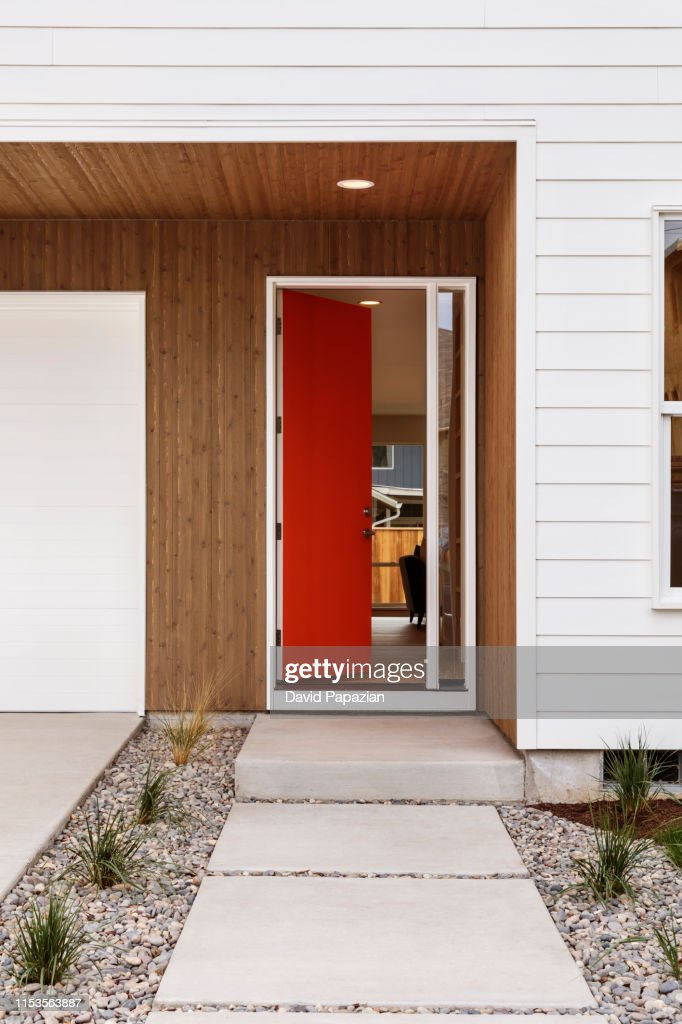Front View Of A Red Door That Is