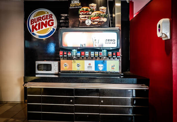Front view of a soda fountain station at Burger King