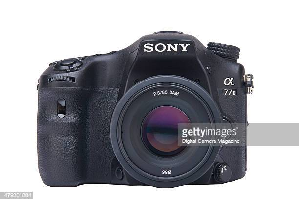 Front view of a Sony Alpha 77 II digital SLT camera taken on July 11 2014