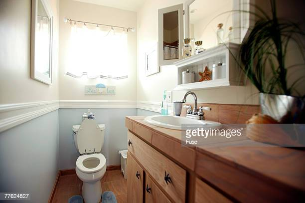Front view of a toilet under the window