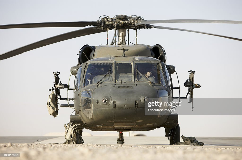 Front view of a UH-60L Black Hawk helicopter. : Stock Photo