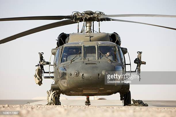 Front view of a UH-60L Black Hawk helicopter.