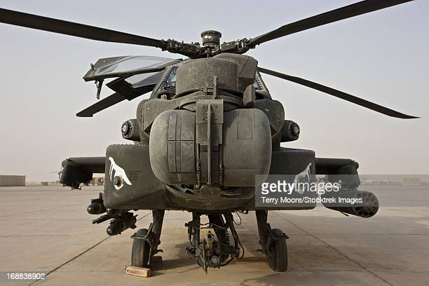 Front view of an AH-64D Apache Longbow on the flight line, Tikrit, Iraq.