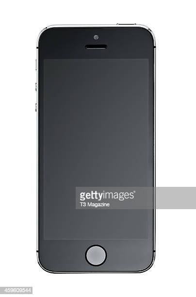 Front view of an Apple iPhone 5S smartphone photographed on a white background taken on October 7 2013