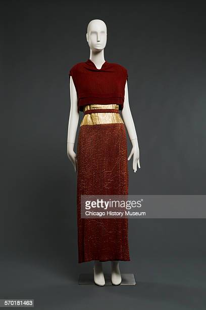 Front view of an evening gown by Elsa Schiaparelli 1937 Worn by donor Marie Ingersol born September 3 1908 Purchased in Paris 1940