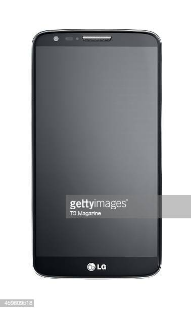 Front view of an LG G2 smartphone photographed on a white background taken on October 4 2013