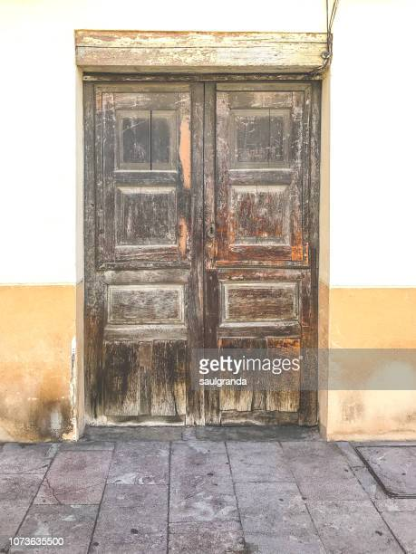 Front view of an old wooden door