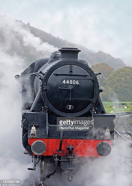 Front view of an oldfashioned steam locomotive taken on November 10 2008