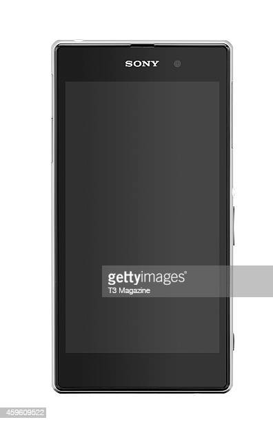 Front view of an Sony Xperia Z1 smartphone photographed on a white background taken on October 7 2013